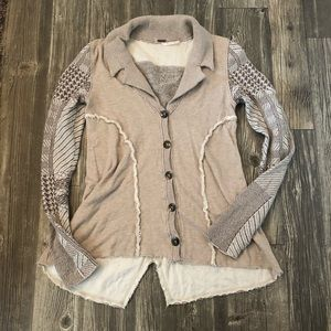 Free people cream button down sweater
